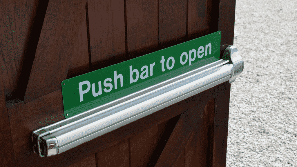 push bar to open sign on door