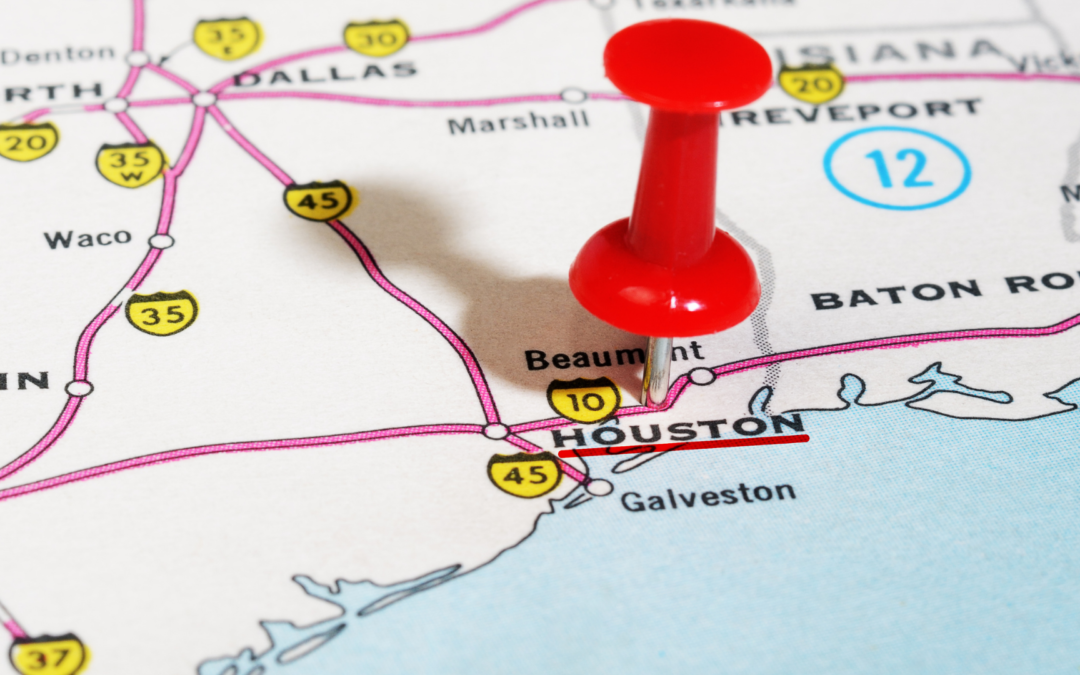 Houston map marked with push pin