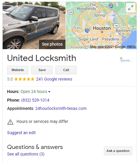 United Locksmiths in Houston reviews