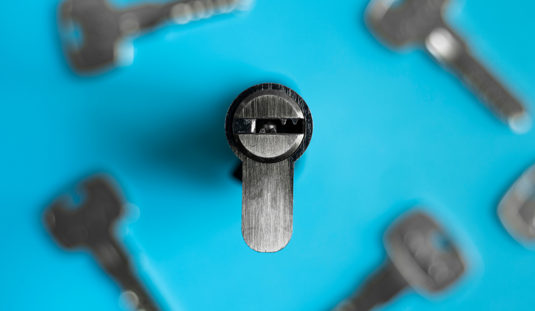 lock cylinder with blue background
